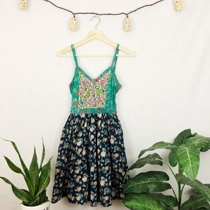 Patrons of Peace Floral Embroidered Boho Dress S